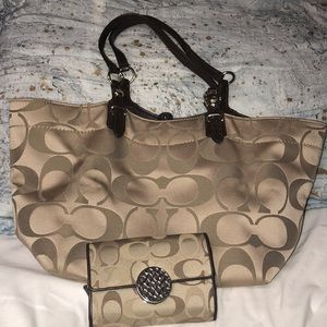 Tan Coach bag and matching wallet, lightly used